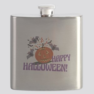 Happy Halloween Motif Flask