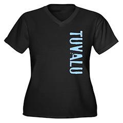 Tuvalu Stamp Women's Plus Size V-Neck Dark T-Shirt