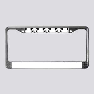 Kawaii Panda Pattern In Black License Plate Frame