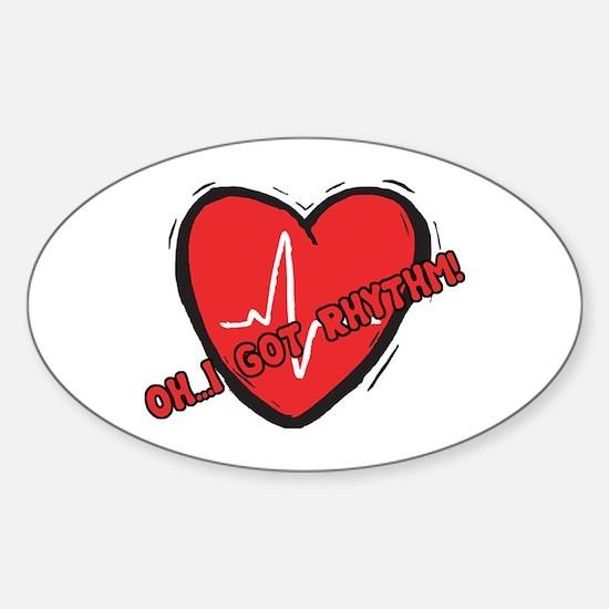 Cardiac Rhythm Oval Decal