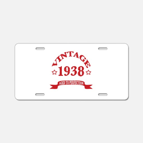 Vintage 1938 Aged To Perfec Aluminum License Plate
