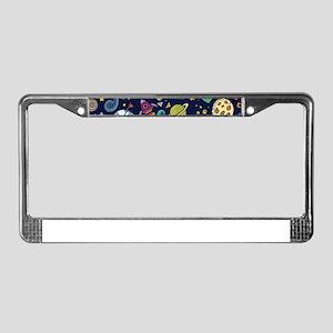 Cartoon Space Explorer Birthda License Plate Frame