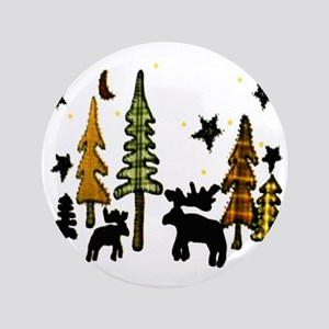 "Moose Winter Scene 3.5"" Button"