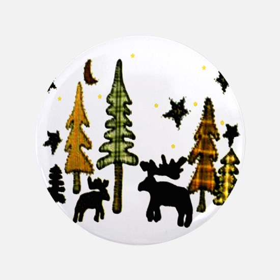 "Moose Winter Scene 3.5"" Button"