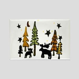 Moose Winter Scene Rectangle Magnet