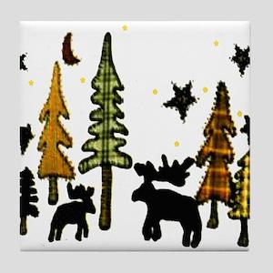 Moose Winter Scene Tile Coaster