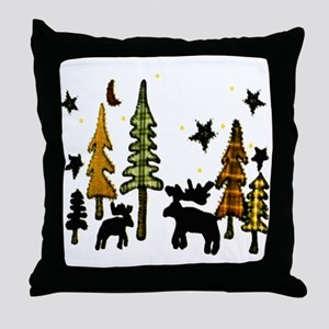 Moose Winter Scene Throw Pillow