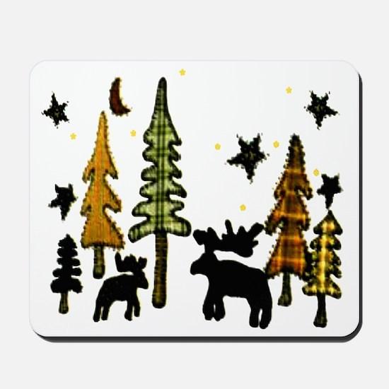 Moose Winter Scene Mousepad