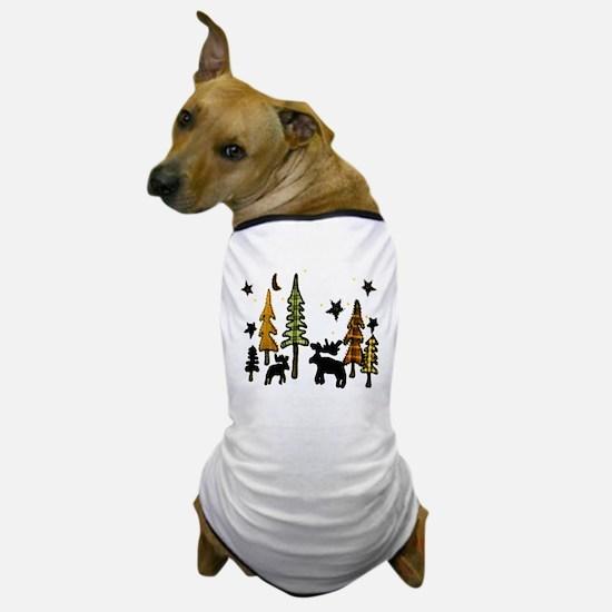 Moose Winter Scene Dog T-Shirt