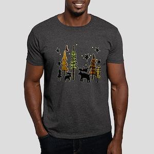 Moose Winter Scene Dark T-Shirt