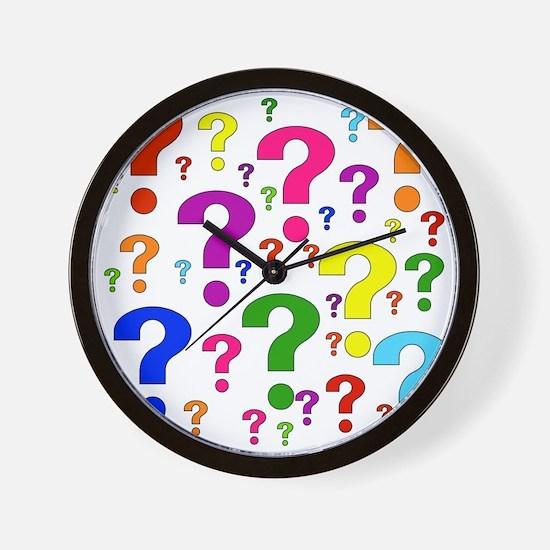 Rainbow Question Marks Wall Clock