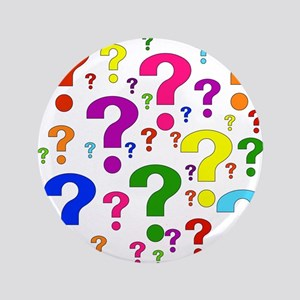 """Rainbow Question Marks 3.5"""" Button"""