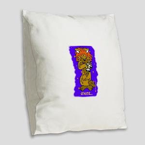 Sleeping Wiki Burlap Throw Pillow