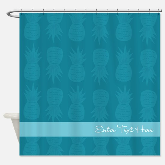 Pineapples Monochrome Personalized Shower Curtain