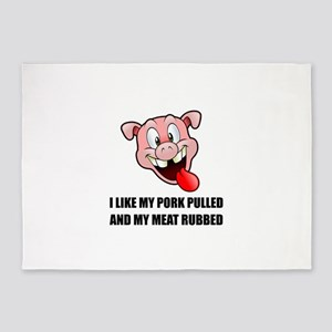 Pork Pulled Meat Rubbed BBQ 5'x7'Area Rug