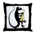 Gecko Saxophone Throw Pillow