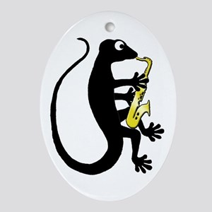 Gecko Saxophone Ornament (Oval)