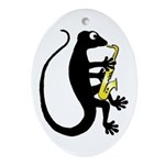 Gecko Saxophone Ornament (Oval)