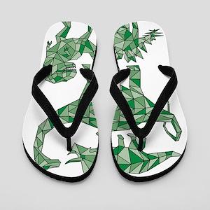 Geometric Dinosaurs Flip Flops
