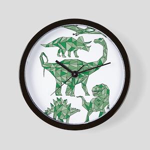 Geometric Dinosaurs Wall Clock