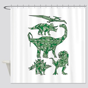 Geometric Dinosaurs Shower Curtain