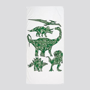 Geometric Dinosaurs Beach Towel