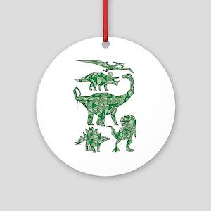 Geometric Dinosaurs Round Ornament