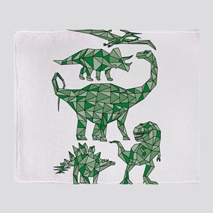 Geometric Dinosaurs Throw Blanket