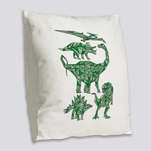 Geometric Dinosaurs Burlap Throw Pillow