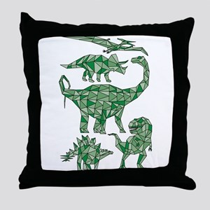 Geometric Dinosaurs Throw Pillow