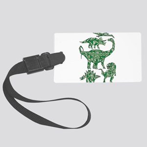 Geometric Dinosaurs Large Luggage Tag