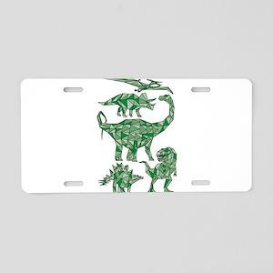 Geometric Dinosaurs Aluminum License Plate