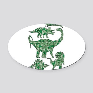 Geometric Dinosaurs Oval Car Magnet