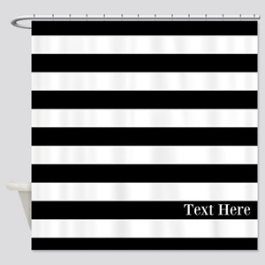 Black And White Stripes Personalize Shower Curtain