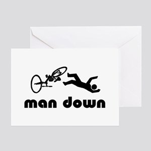 cyclist down Greeting Cards