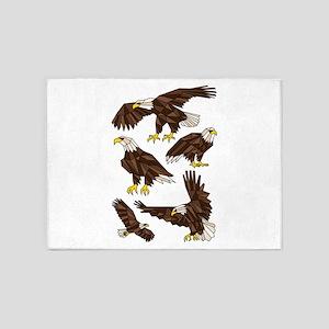 Geometric Bald Eagles 5'x7'Area Rug
