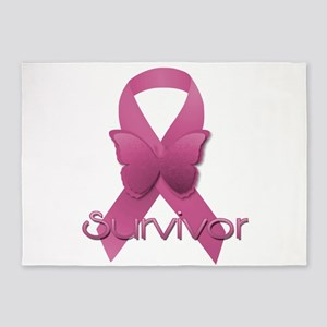 Breast Cancer Awareness Ribbon 5'x7'Area Rug