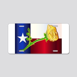 Texas Yellow Rose Aluminum License Plate
