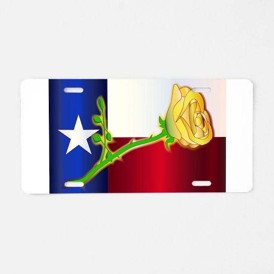 Texas Yellow Rose Aluminum License Plate