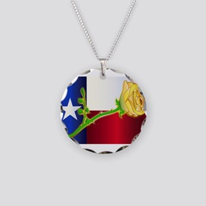 Texas Yellow Rose Necklace Circle Charm
