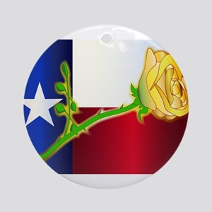 Texas Yellow Rose Round Ornament