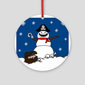 Christmas Pirate Snowman Round Ornament