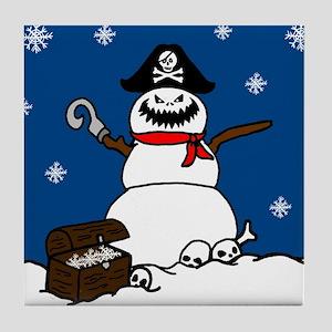 Christmas Pirate Snowman Tile Coaster