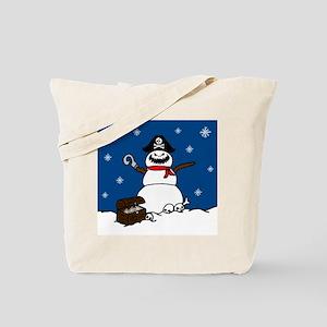 Christmas Pirate Snowman Tote Bag