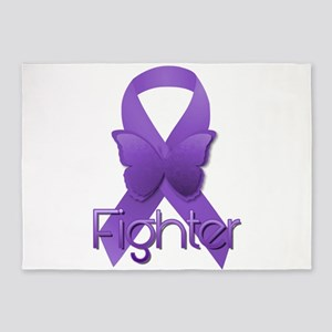 Purple Ribbon: Fighter 5'x7'Area Rug