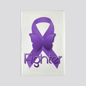 Purple Ribbon: Fighter Rectangle Magnet