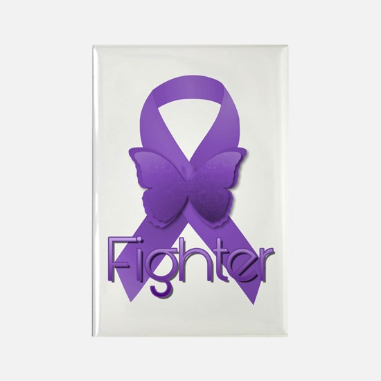 Purple Ribbon: Fighter Rectangle Magnet