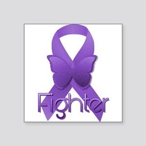"""Purple Ribbon: Fighter Square Sticker 3"""" x 3"""""""
