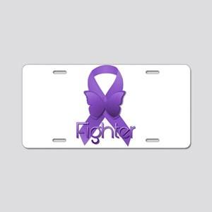 Purple Ribbon: Fighter Aluminum License Plate