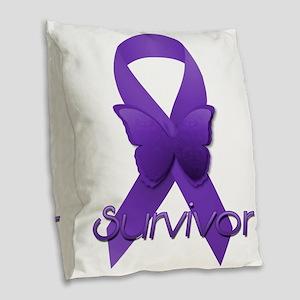 Purple Ribbon: Survivor Burlap Throw Pillow